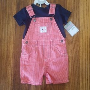 NWT Carter's 2 Piece Red Pinstripe Short-Overalls